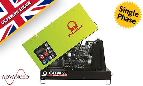 14 kVA Perkins Stage IIIa Single Phase Silent Diesel Generator - Pramac GBW22P Genset