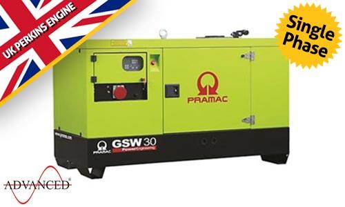 20 kVA Perkins Single Phase Silent Diesel Generator - Pramac GSW30P