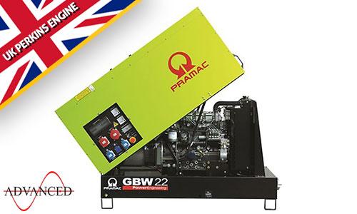 22 kVA Perkins Diesel Generator - Pramac GBW22 Key Start Genset