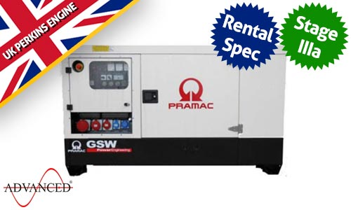 22 kVA Perkins Rental Spec Silent Diesel Generator - Pramac GSW22P