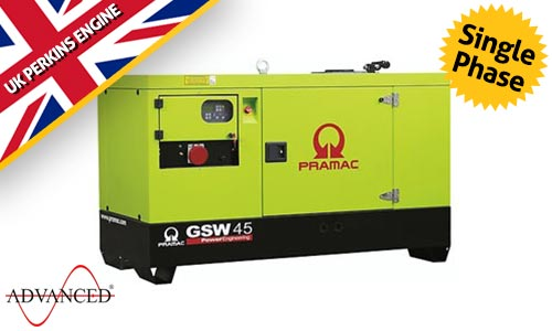 30 kVA Perkins Single Phase Diesel Generator - Pramac GSW45 Genset