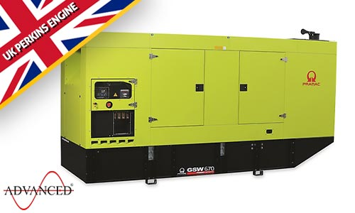 670 kVA Pramac Perkins Silent Canopied Diesel Generator - Pramac GSW670P