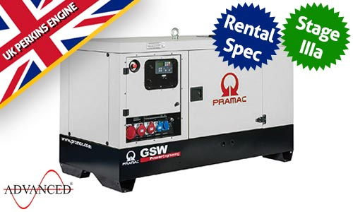 67 kVA Perkins Rental Spec Silent Diesel Generator - Pramac GSW67P Genset