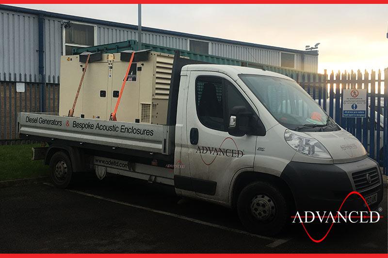 diesel generator loaded onto a van