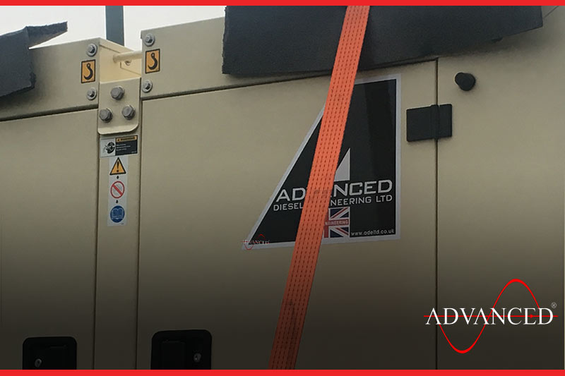 Close up of straps on diesel generator