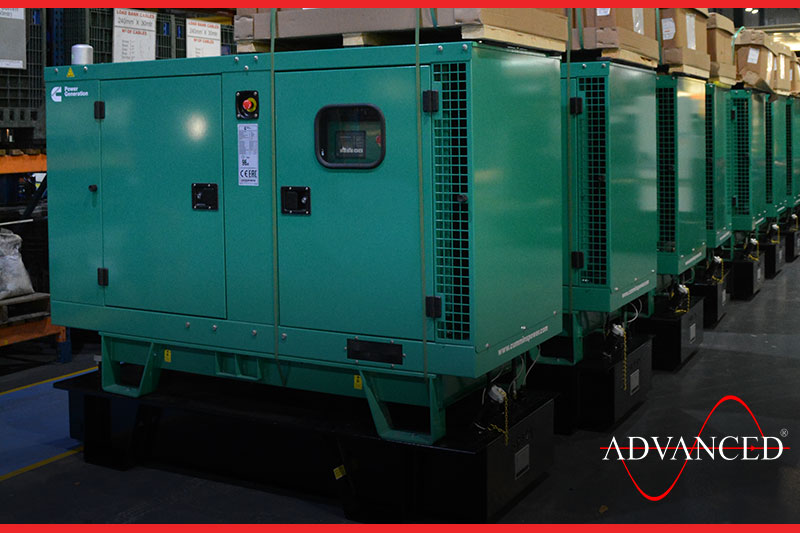 a line of cummins diesel generators ready to leave the yard