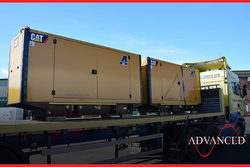 caterpillar diesel generator is leaving the yard