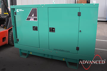 diesel generator loaded onto a van