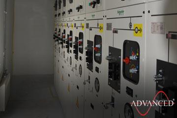 Switchgear inside a bespoke diesel generator