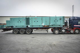 empty generator canopies on lorry