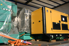 Various diesel generators on a lorry