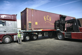 40 foot shipping container on an articulated lorry