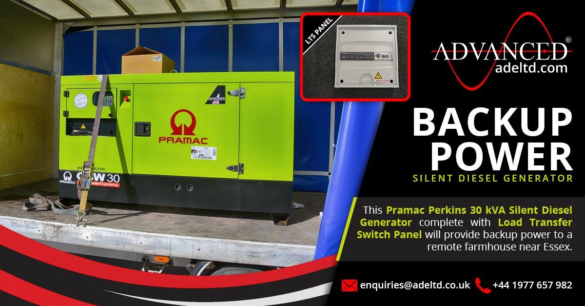 30 kVA Pramac Perkins Silent Farmhouse Backup Diesel Generator